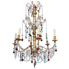 Genovese Chandelier with Colored Murano Glass, circa 1920