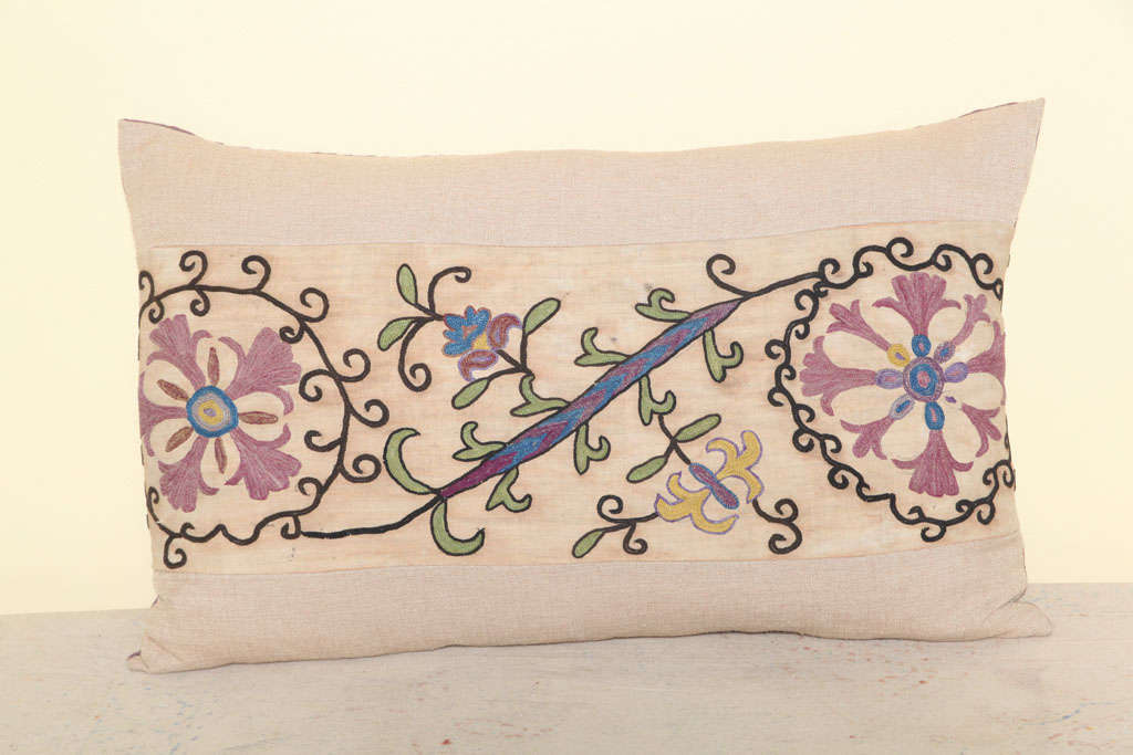 Wool Beautiful pair of Antique Suzani Pillows For Sale
