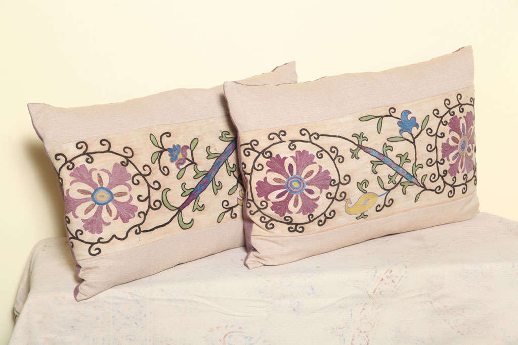 Pair of pillows made of antique suzani textile fragment.<br />
