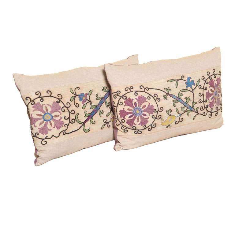 Beautiful pair of Antique Suzani Pillows