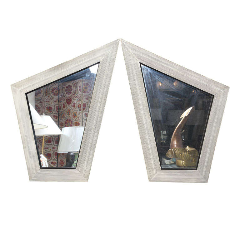 pair of unusual geometric shape wall mirrors at 1stdibs