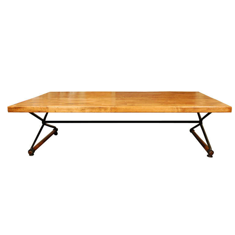 Large oak block top hacienda style coffee table by Cleo  : x from www.1stdibs.com size 768 x 768 jpeg 19kB