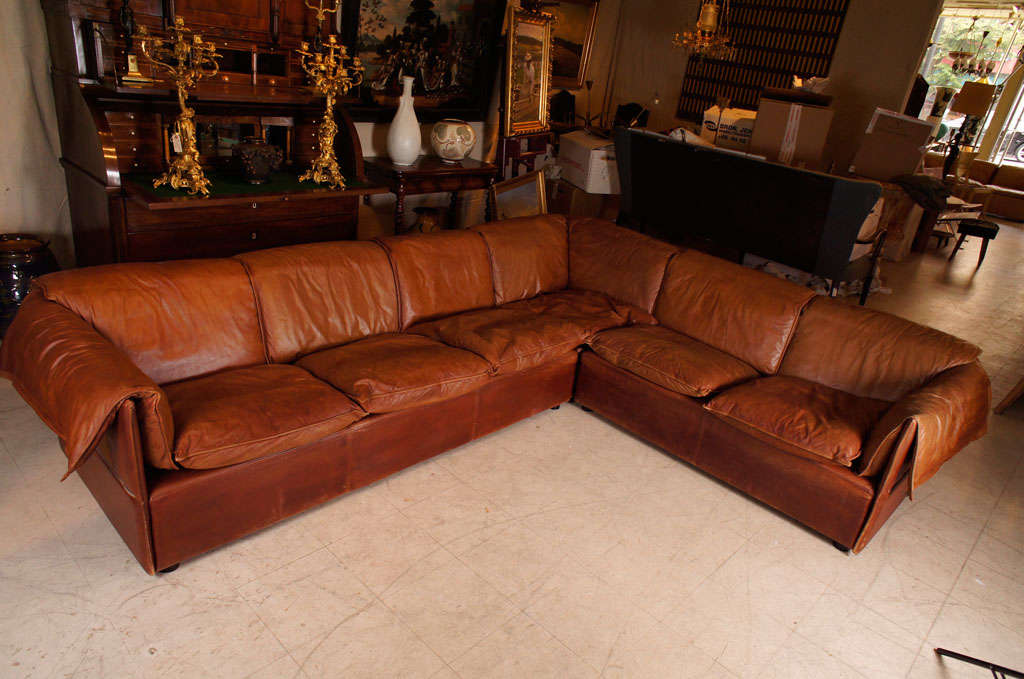 Brown Leather Sectional Sofa By N Eiilersen At 1stdibs