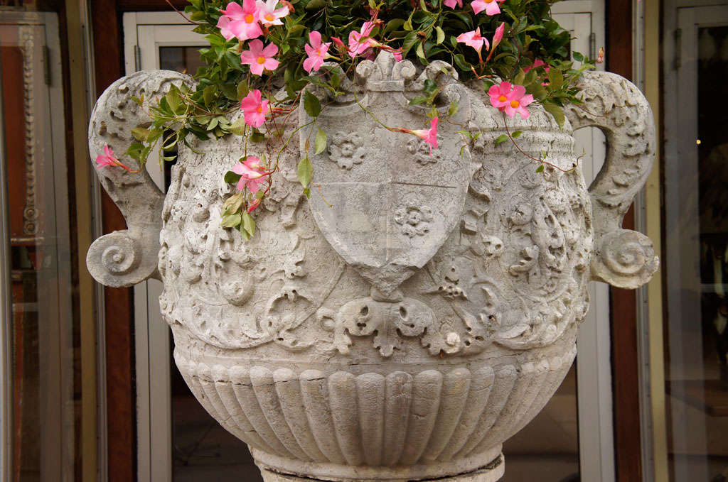 Baroque Enormous 19th C Limestone Urn For Sale