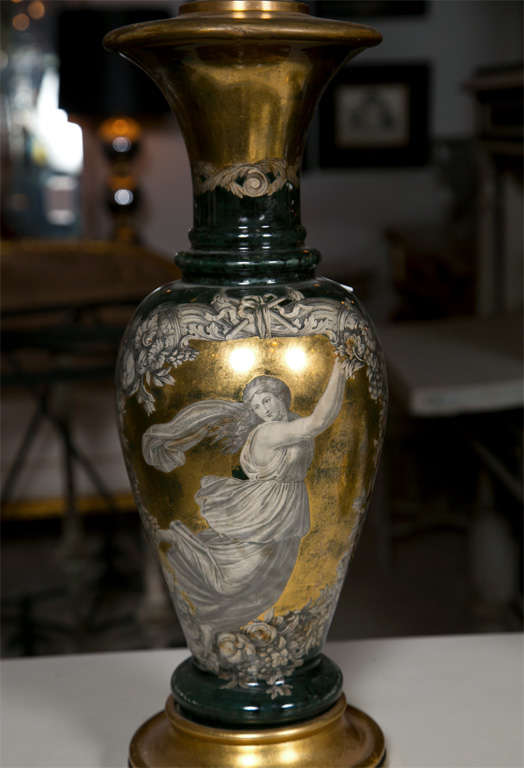 Classical Greek Pair Classical Design Table Lamps Urn Shape Form Reverse Glass Depicting Goddess For Sale