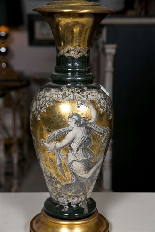 American Pair Classical Design Table Lamps Urn Shape Form Reverse Glass Depicting Goddess For Sale
