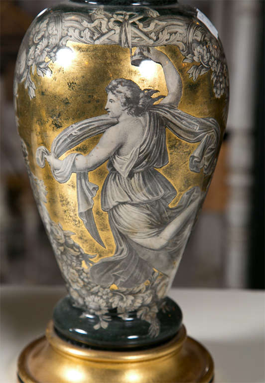 Mid-20th Century Pair Classical Design Table Lamps Urn Shape Form Reverse Glass Depicting Goddess For Sale