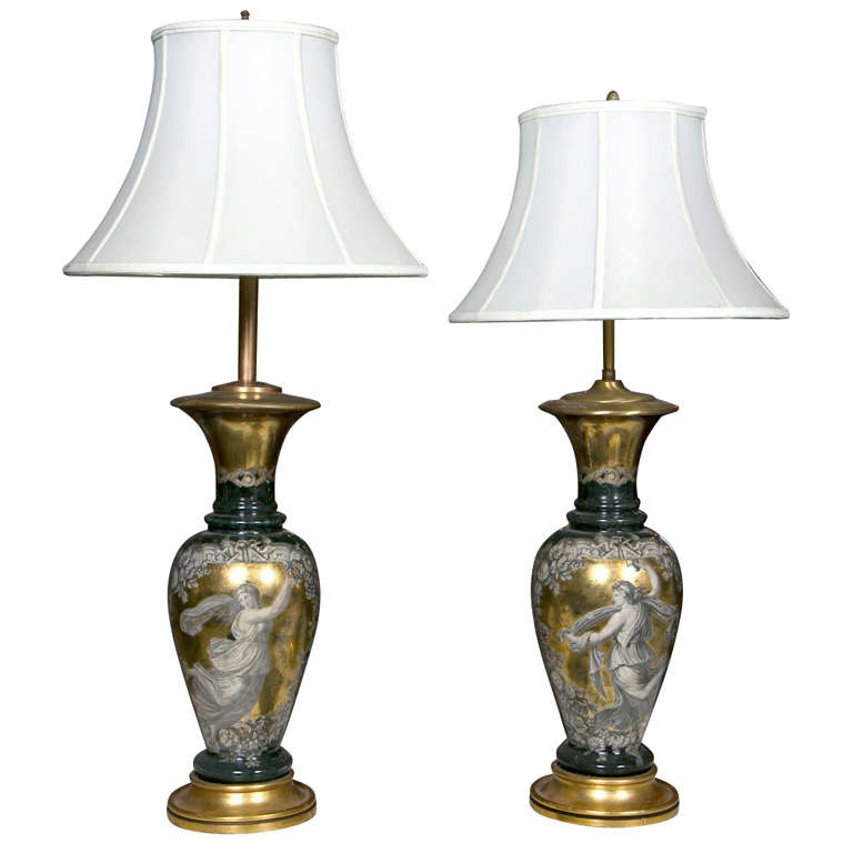 Pair Classical Design Table Lamps Urn Shape Form Reverse Glass Depicting Goddess For Sale