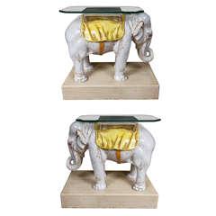 Pair Elephant Side Tables