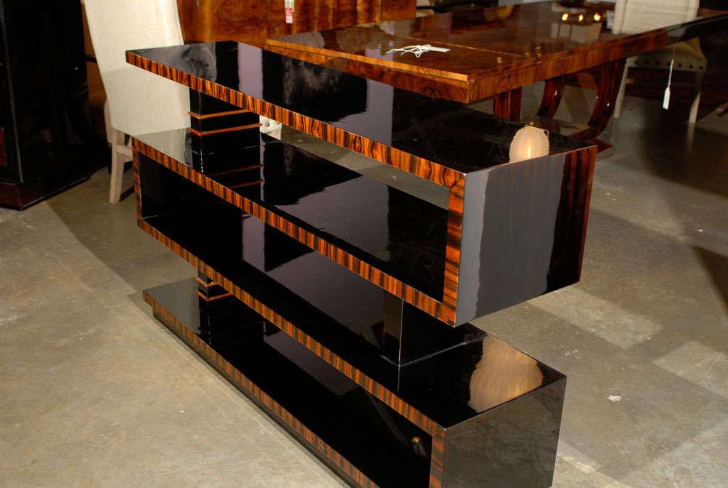 Bauhaus Style Lacquered Macassar Ebony Bookshelf With Asymmetrical Shelves For Sale 2