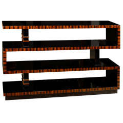 Bauhaus Style Lacquered Macassar Ebony Bookshelf with Asymmetrical Shelves