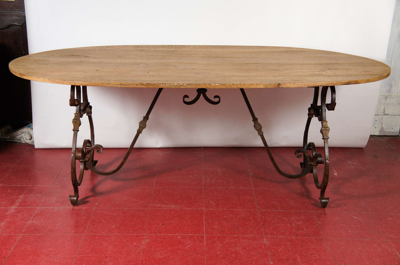 Natural Wood Metal Base Dining Table Waxed With Elegant French Wrought Iron