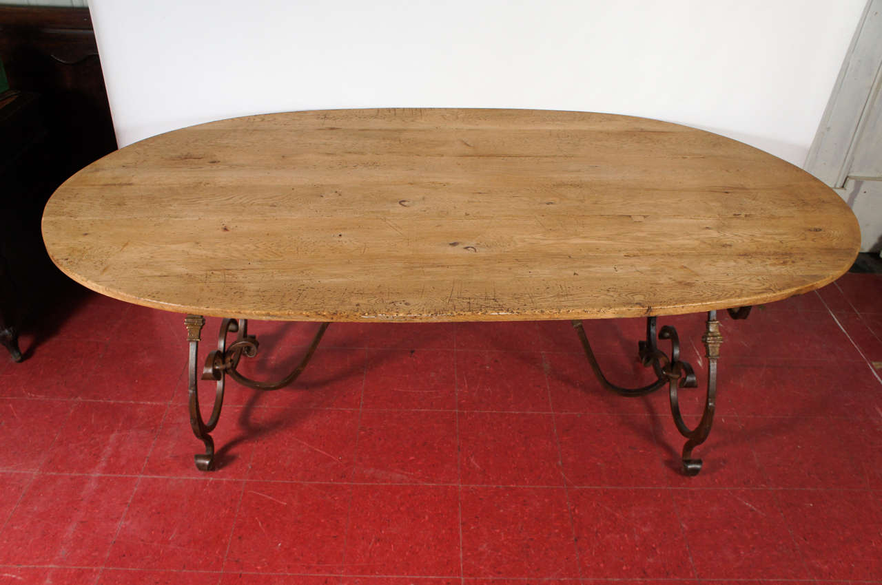 Other French Oval Metal Base Dining Table