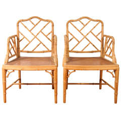 Chinese Faux Bamboo Chippendale-Style Arm Chairs, Pair