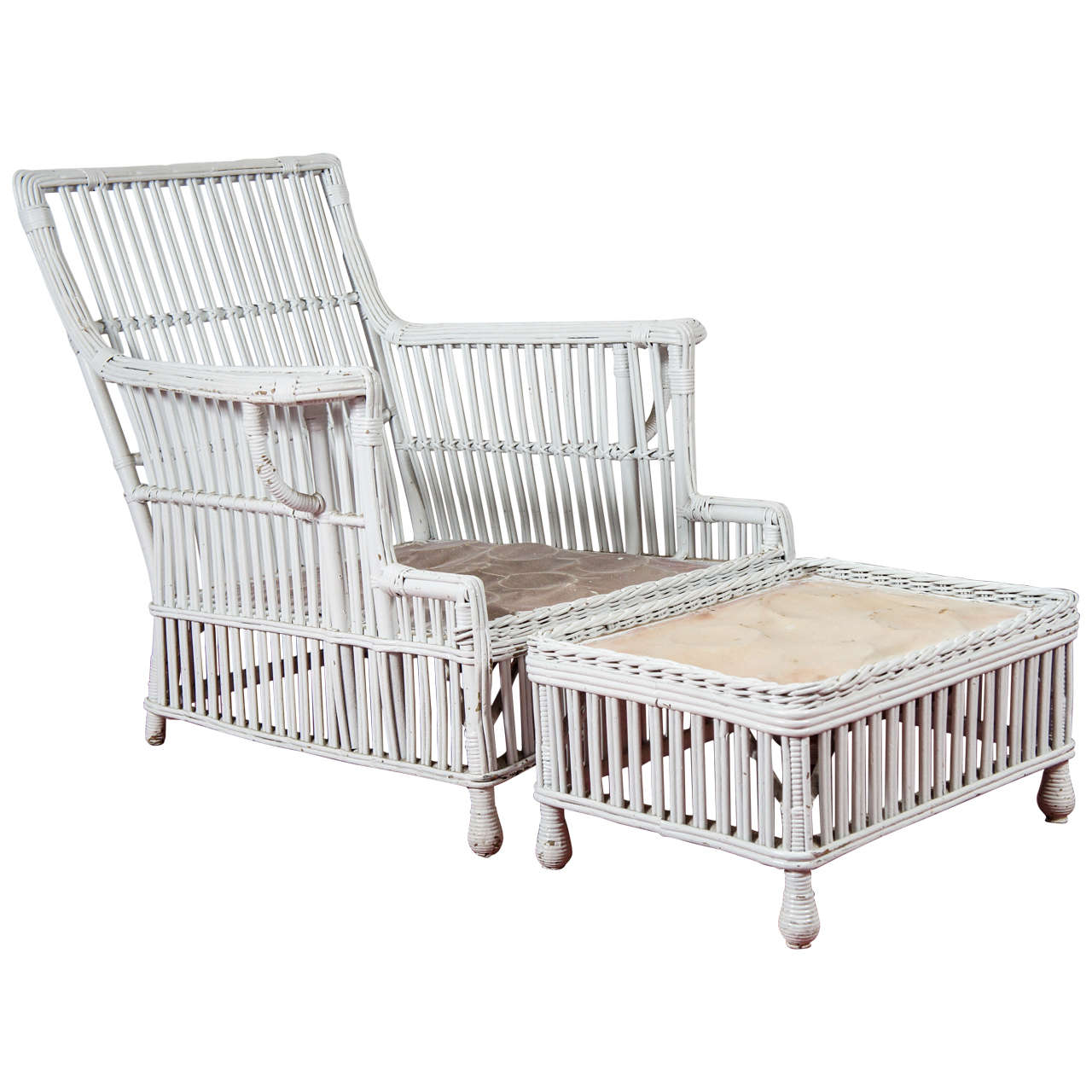 Stick wicker rattan arm chair and matching stool at 1stdibs for Matching arm chairs