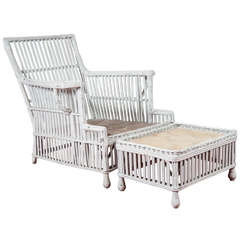 Stick Wicker Rattan Arm Chair & Matching Stool