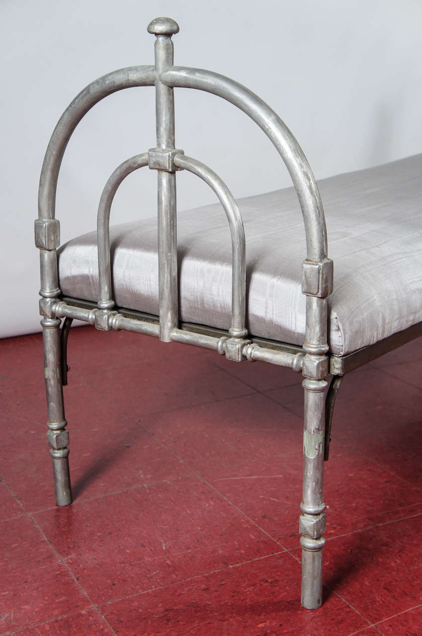 Late 20th Century Metal Upholstered Bench For Sale