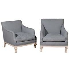 "Pair of French 19th Century ""His & Hers"" Club Chairs with Blue Grey Upholstery"