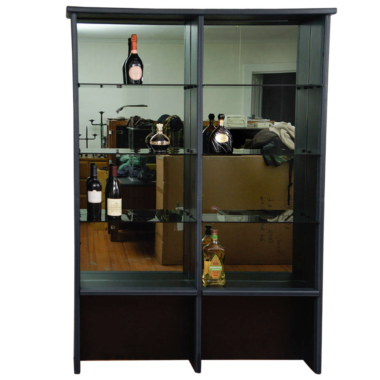Pace Collection Leather Wrapped Liquer Shelf & matching granite bar
