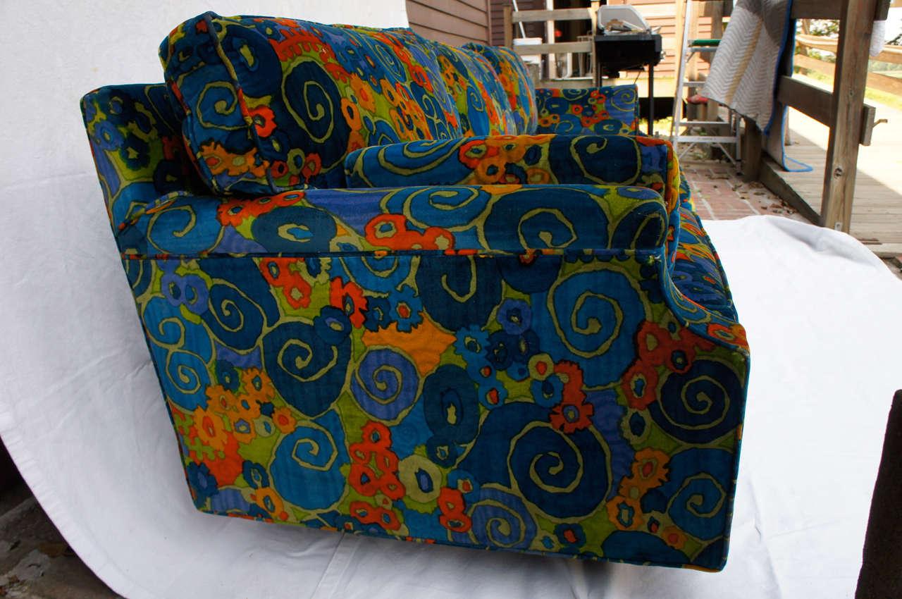 Mid-Century Modern mid century 70's Jack Lenor Larsen Velvet Sofa For Sale