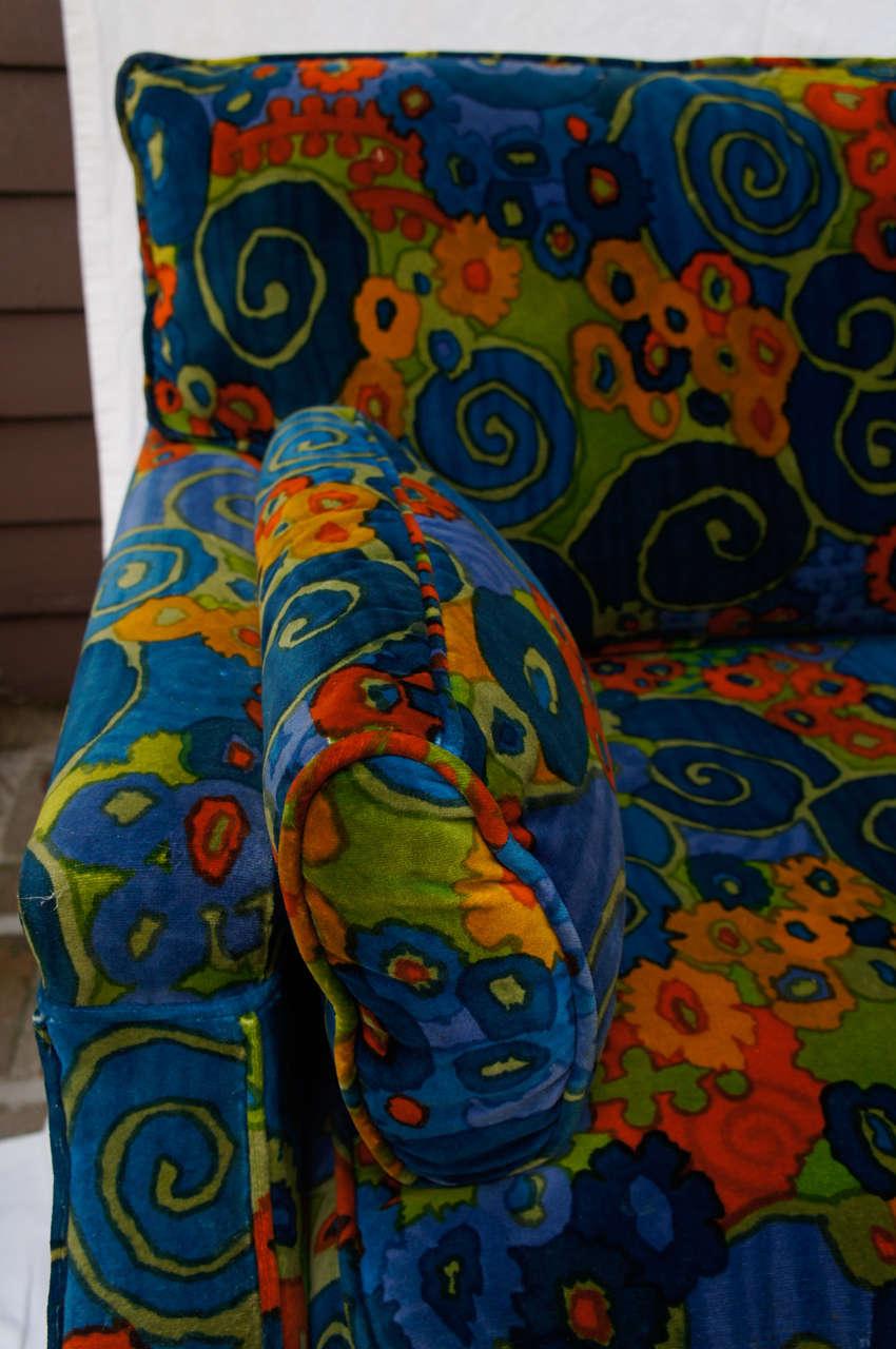 American mid century 70's Jack Lenor Larsen Velvet Sofa For Sale