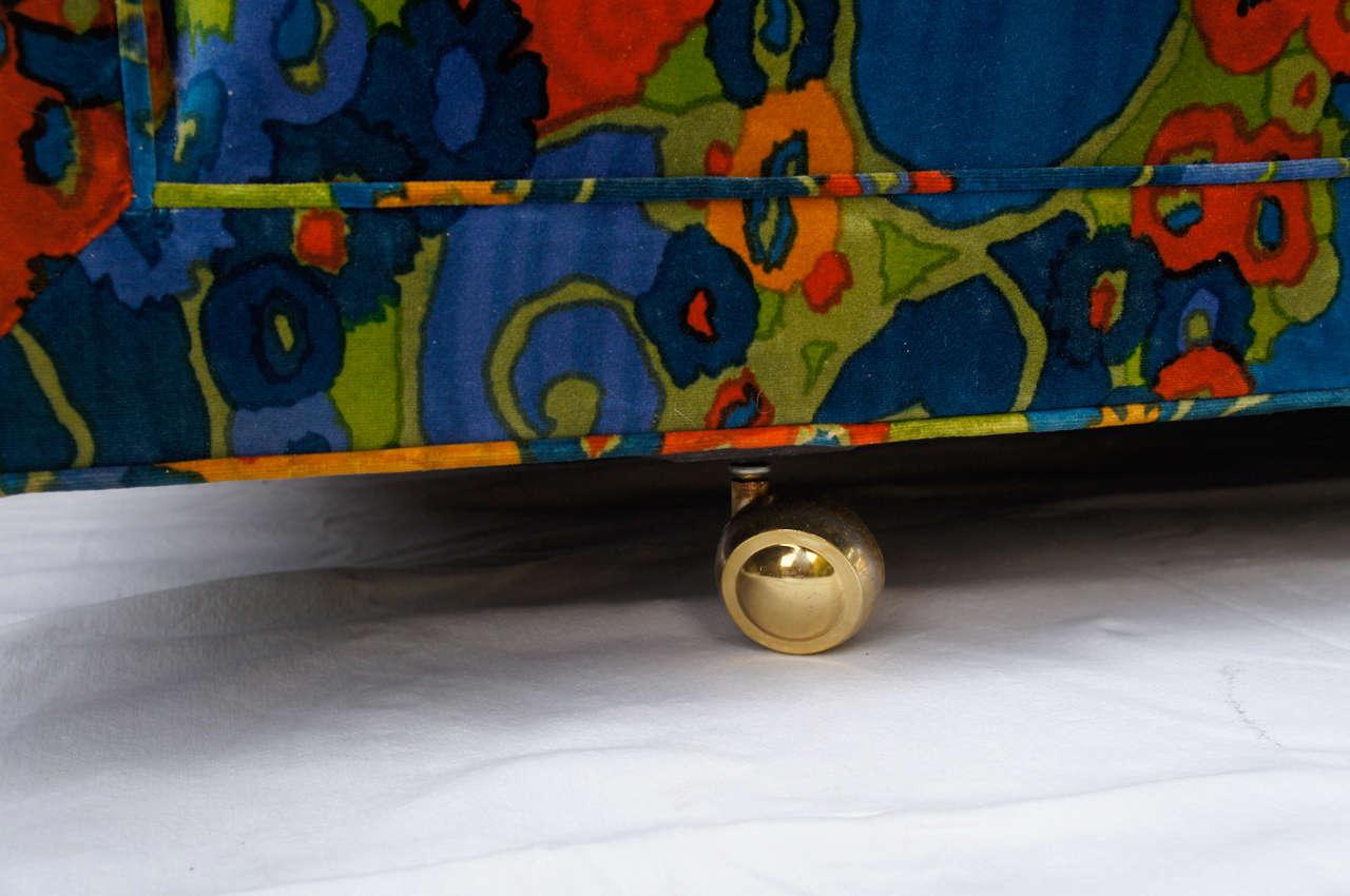 mid century 70's Jack Lenor Larsen Velvet Sofa In Excellent Condition For Sale In Canaan, CT
