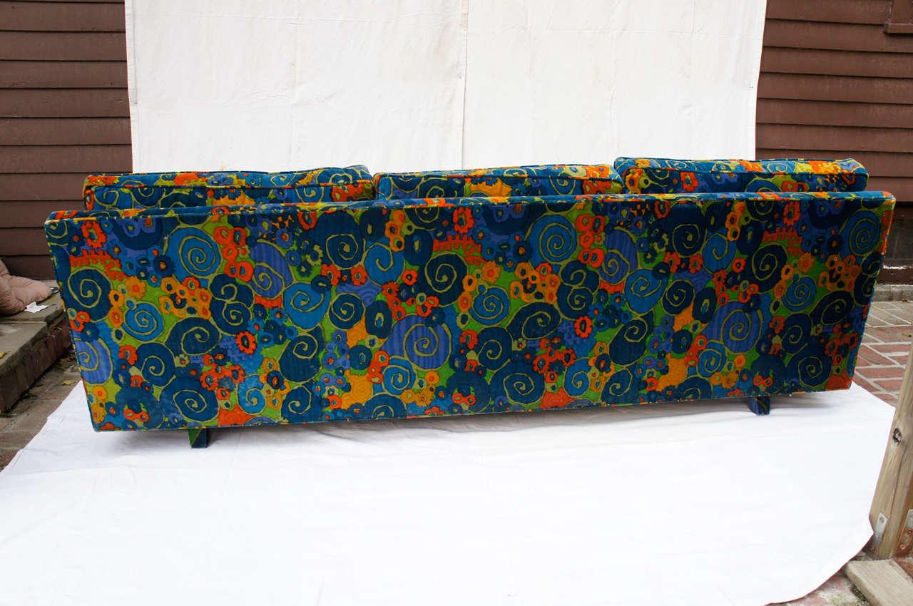 Wood mid century 70's Jack Lenor Larsen Velvet Sofa For Sale