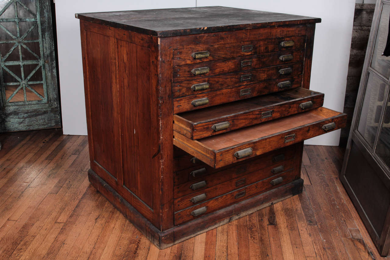 Antique flat file cabinet antique furniture antique oak printers flat file cabinet for sale at 1stdibs malvernweather Images