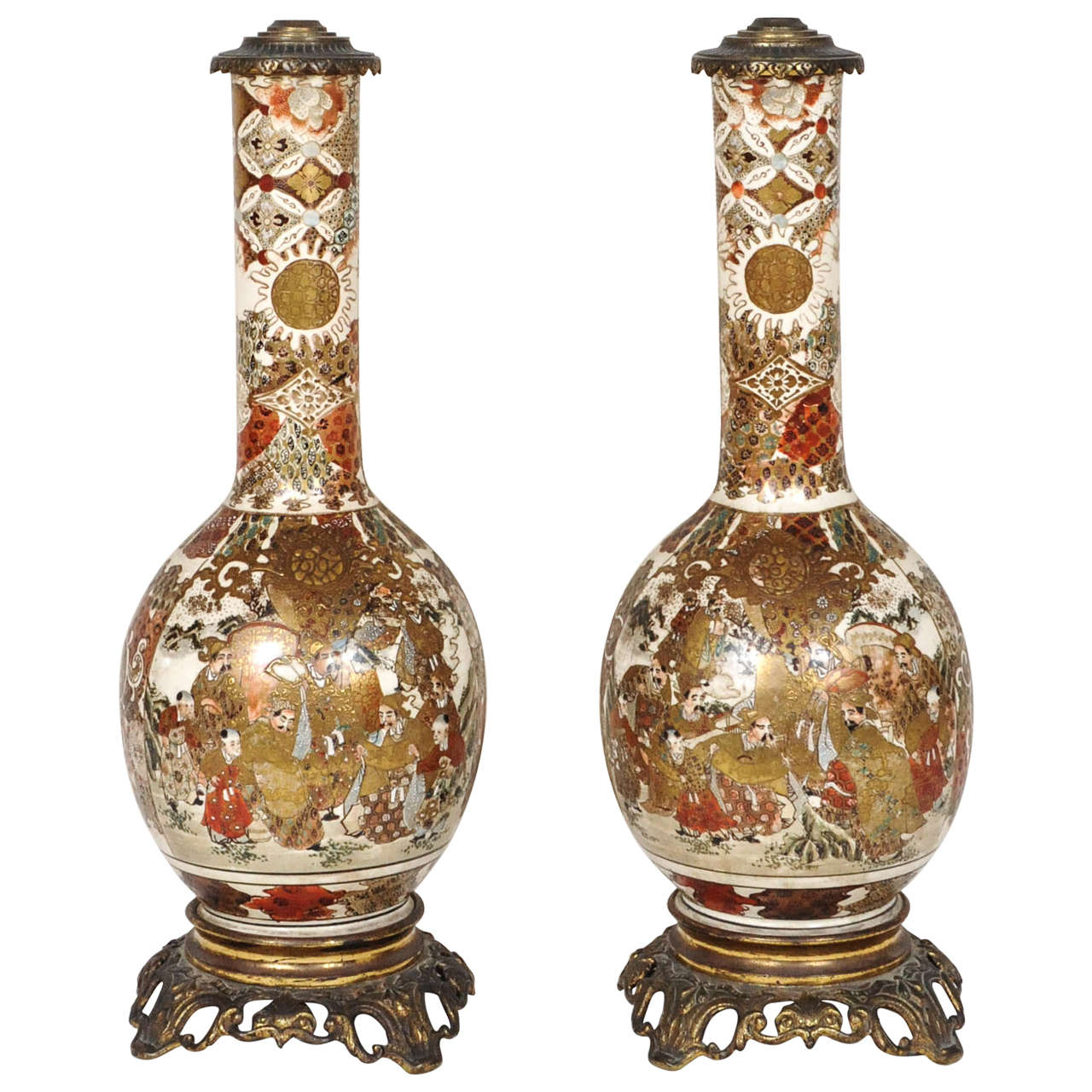 A Fantastic Pair Of Satsuma Lampstands Former Oil Lamps