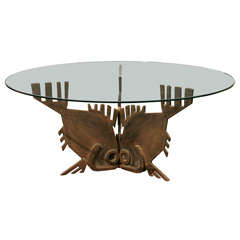 "Italian Bronze ""Tre-Pesci"" Coffee Table"