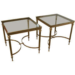 Pair of Brass Glass Topped Side Tables