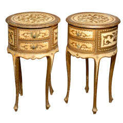 Pair Of 20thc  Round Bedside Tables, Cream & Gold