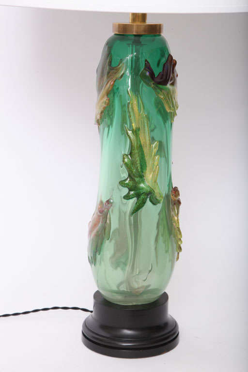 Mid-Century Modern Italian 1940s Art Glass Lamp by Fratelli Toso For Sale