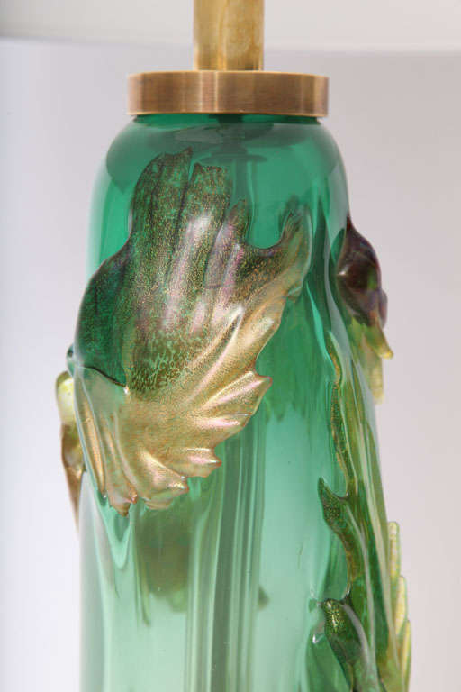 Italian 1940s Art Glass Lamp by Fratelli Toso For Sale 2