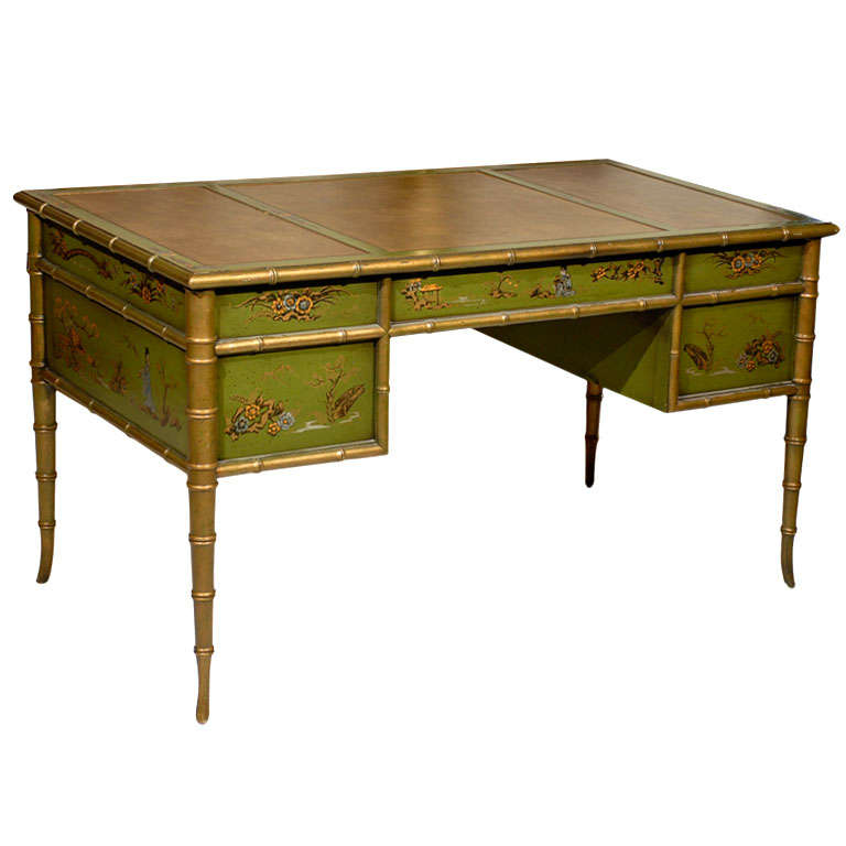 Faux Bamboo Chinoiserie Desk For Sale