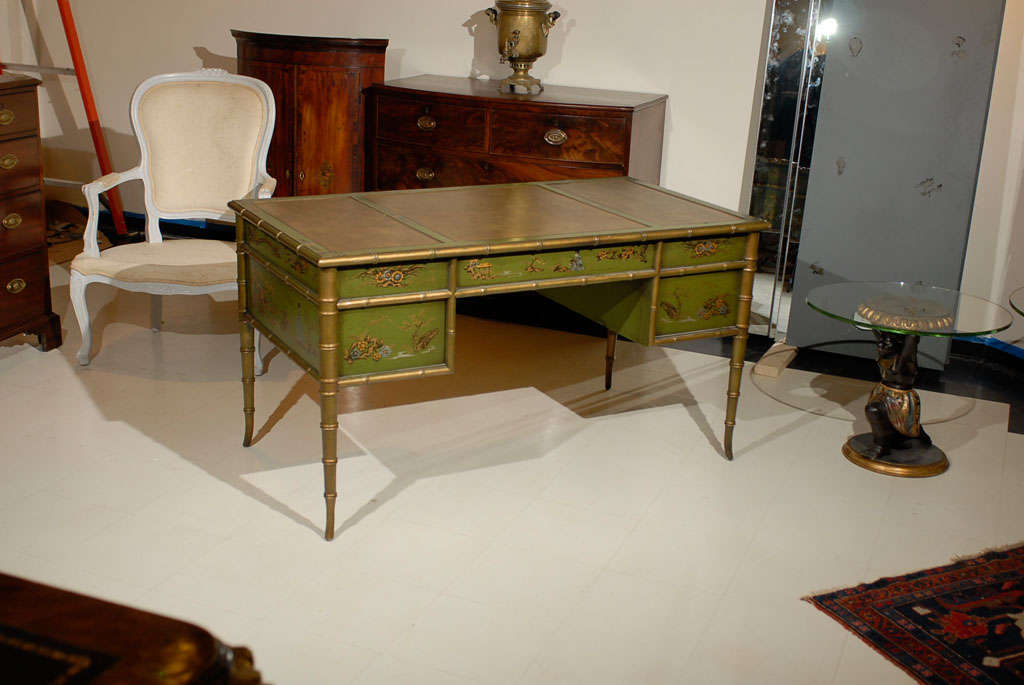 Faux Bamboo Chinoiserie Desk For Sale 6