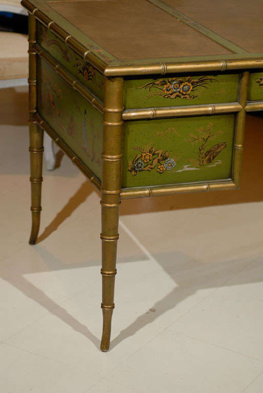 Faux Bamboo Chinoiserie Desk In Excellent Condition For Sale In Atlanta, GA
