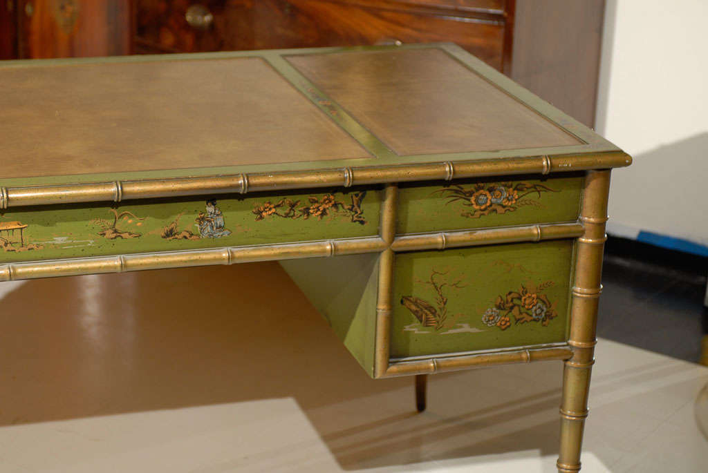 20th Century Faux Bamboo Chinoiserie Desk For Sale