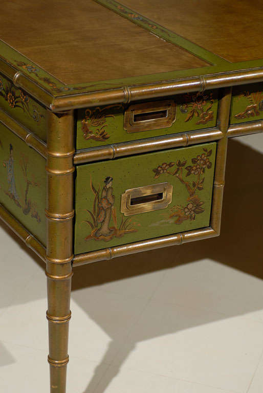 Faux Bamboo Chinoiserie Desk For Sale 1