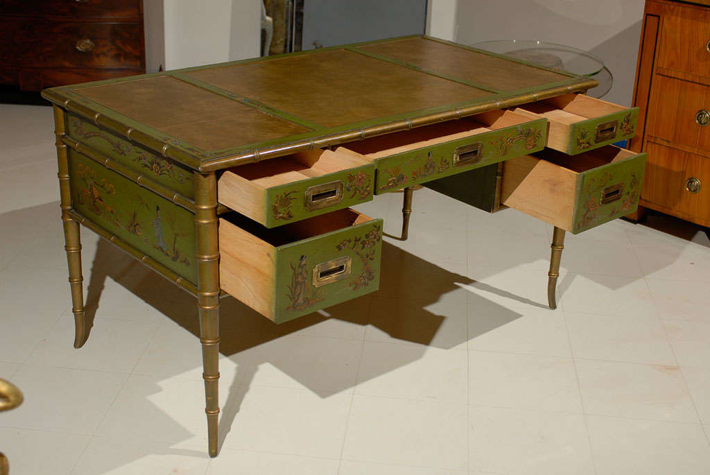 Faux Bamboo Chinoiserie Desk For Sale 2