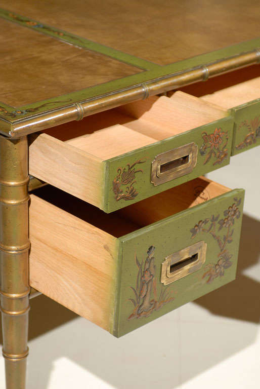 Faux Bamboo Chinoiserie Desk For Sale 3