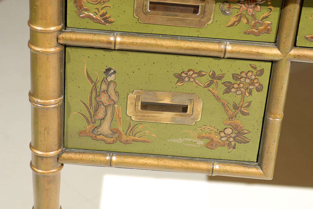 Faux Bamboo Chinoiserie Desk For Sale 5