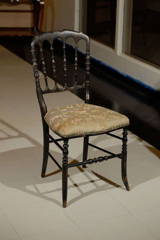 Amazing Small Elegant Black Painted Victorian Occasional Chair. Shaped Crest  Supported By Turned Wood Spindles.