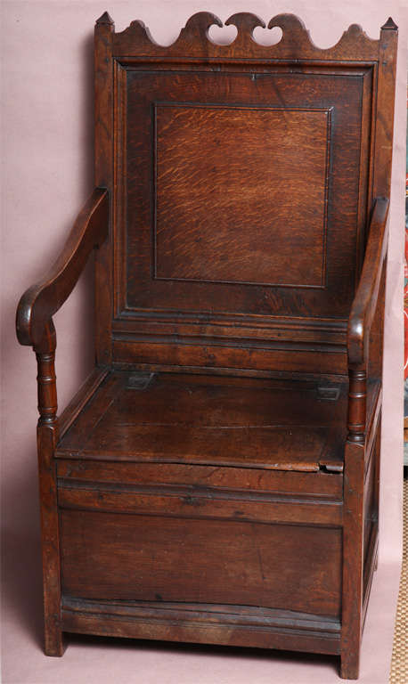 Fine Late 17th Century English Oak Wainscot Chair, The Shaped Crest With  Wave And Scalloping