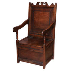 Late 17th Century English Oak Wainscot Chair With Box Seat