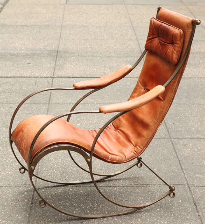 Tremendous 19Th Century Steel And Leather Rocking Chair By R W Squirreltailoven Fun Painted Chair Ideas Images Squirreltailovenorg