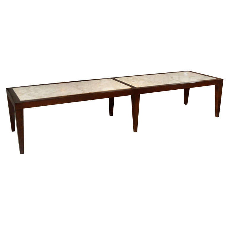 Long Walnut And Marble Coffee Table At 1stdibs