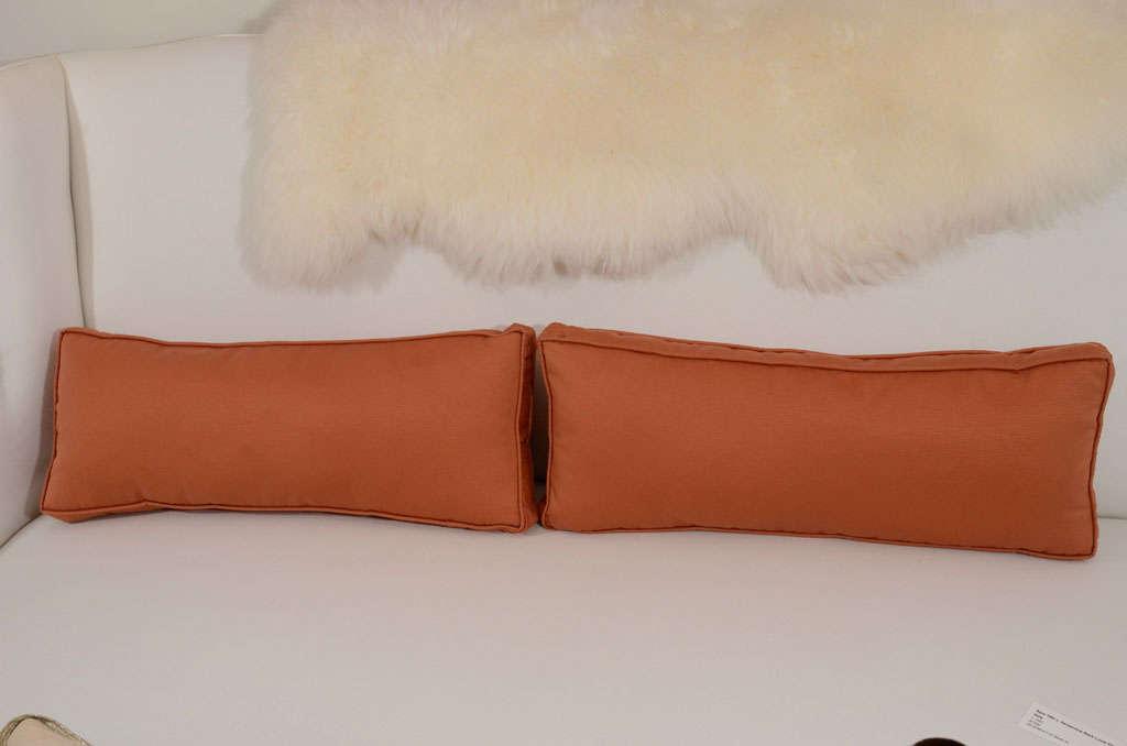 Pair of Extra Long Italian Silk Burnt Orange Lumbar Pillows at 1stdibs