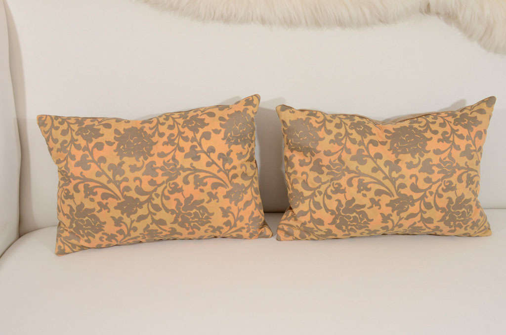 Pair of Persimmon and Bronze Venetian Fabric Down Pillows 2
