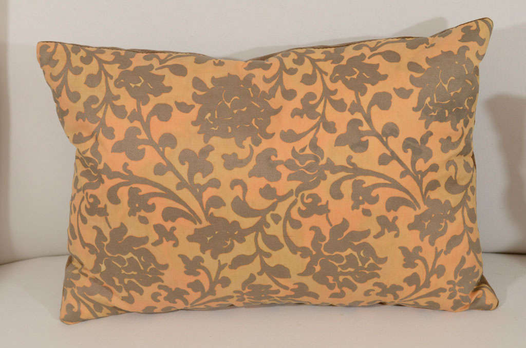 Pair of Persimmon and Bronze Venetian Fabric Down Pillows 3
